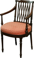 Furniture , A Regency-Style Mahogany Armchair with Upholstered Seat, 19th century. 34-1/2 h x 22 w x 17 d inches (87.6 x 55.9 x 43.2 cm)...