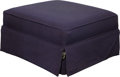 Furniture , A Purple Wool Upholstered Ottoman, 20th century. 15-1/2 h x 30-1/2 w x 28-1/2 d inches (39.4 x 77.5 x 72.4 cm). ...