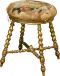 Furniture, A Carved Giltwood Stool with Needlework Upholstery, 19th century. 18-3/4 inches high x 15 inches diameter (47.6 x 38.1 cm). ...