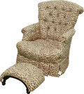 Furniture , A Leopard Print Upholstered Armchair and Ottoman, 20th century. 34 h x 26 w x 27 d inches (86.4 x 66.0 x 68.6 cm) (armchair)... (Total: 2 Items)