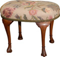 Furniture , A Queen Anne-Style Upholstered Mahogany Stool, 19th century. 18-1/2 h x 23 w x 16 d inches (47.0 x 58.4 x 40.6 cm). ...