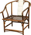 Furniture , A Chinese Bamboo and Caned Horseshoe Armchair with Upholstered Splat, 20th century. 31-3/4 h x 28-1/2 w x 21 d inches (80.6 ...
