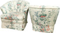 Furniture , A Pair of Floral Print Upholstered Lounge Chairs, 20th century. 32 h x 35 w x 35 d inches (81.3 x 88.9 x 88.9 cm). ... (Total: 2 Items)