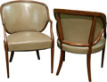 Furniture : French, A Pair of Faux Leather Upholstered Walnut Armchairs, early 20thcentury. 33-1/2 h x 23 w x 23 d inches (85.1 x 58.4 x 58.4 c...(Total: 2 Items)