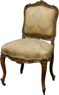 Furniture, A Louis XV-Style Upholstered Walnut Library Chair. 36 h x 22 w x 18 d inches (91.4 x 55.9 x 45.7 cm). ...