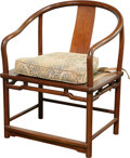 Asian:Chinese, A Chinese Hardwood Horseshoe Armchair with Caned Seat, 20thcentury. 34-1/4 h x 25-1/2 w x 18-3/4 d inches (87.0 x 64.8 x 47...