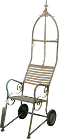 Furniture , A Gothic Revival-Style Painted Iron Garden Chair, 20th century. 73 h x 21-1/4 w x 24 d inches (185.4 x 54.0 x 61.0 cm). ...