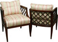 Furniture , A Pair of Regency-Style Upholstered Mahogany Chairs, 20th century. 29-1/2 h x 23-1/2 w x 23-1/4 d inches (74.9 x 59.7 x 59.1... (Total: 2 Items)