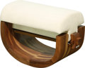 Furniture , A Xue Wenjing Walnut and Velvet Upholstered Ottoman from the Wood Series, circa 2012. 15-1/2 h x 25 w x 12 d inc...