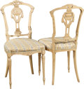 Furniture : French, A Set of Six Napoleon III Upholstered Blondewood Side Chairs, late19th century. 33-3/4 h x 16 w x 15 d inches (85.7 x 40.6 ...(Total: 6 Items)