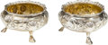 Silver Holloware, British, A Pair of Victorian English Partial Gilt Silver Salt Cellars, late19th/early 20th century. Marks: (rubbed marks). 1-3/4 inc...(Total: 2 Items)