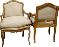 Furniture , A Pair of Régence-Style Carved Beechwood and Upholstered Bergères, late 19th century . 35 h x 24-1/2 w x 20 d inches (88.9 x... (Total: 2 Items)
