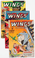 Golden Age (1938-1955):War, Wings Comics #108, 119, and 121 Group (Fiction House, 1949-)Condition: Average VG/FN.... (Total: 3 Comic Books)