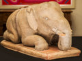 Decorative Arts, Continental, An Indian Polychromed and Carved Wood Elephant Figure. 11 h x19-1/2 w x 8-1/2 d inches (27.9 x 49.5 x 21.6 cm). ...