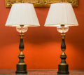 Paintings, A Pair of Napoleon III Tole, Brass and Cut-Glass Table Lamps, late 19th century and later. 27 inches high (85 cm) (without s... (Total: 2 Items)