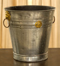 Decorative Arts, Continental, An English Regency-Style Tin and Brass Bucket, 20th century. 11inches high (27.9 cm). ...