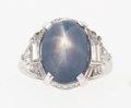 Estate Jewelry:Rings, Star Sapphire, Diamond, Platinum Ring, Circa 1950. ...