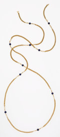 Estate Jewelry:Necklaces, Cultured Pearl, Lapis Lazuli, Gold Necklace, Tiffany & Co.. ...