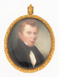 Estate Jewelry:Other, Georgian Painted Portrait, Gold Locket-Brooch. ...