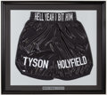 "Boxing Collectibles:Autographs, Mike Tyson ""Hell Yeah I Bit Him"" Signed Trunks. ..."