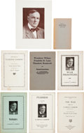 Miscellaneous:Booklets, Clarence Darrow: Window Card Advertisement and Personally-OwnedBooklets.... (Total: 8 Items)