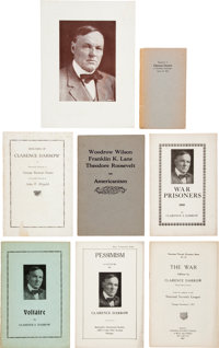 Clarence Darrow: Window Card Advertisement and Personally-Owned Booklets