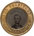 Political:Ferrotypes / Photo Badges (pre-1896), Abraham Lincoln: Dated 1864 Back-to-Back Ferrotype....