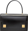 """Luxury Accessories:Bags, Hermes Black Calf Box Leather Sac Piano Bag with Gold Hardware.J Circle, 1980. Excellent Condition. 10"""" Width x6..."""