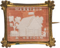 Political:Ferrotypes / Photo Badges (pre-1896), William Henry Harrison: Gorgeous Log Cabin Sulphide Brooch with Bright Pink Background....