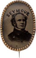Political:Ferrotypes / Photo Badges (pre-1896), Horatio Seymour: Rare and Beautiful Oval Ferrotype....