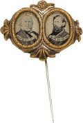 Political:Ferrotypes / Photo Badges (pre-1896), Greeley & Brown: Ferrotype Jugate Stickpin....
