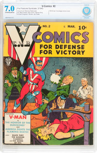 V-Comics #2 (Fox Features Syndicate, 1942) CBCS FN/VF 7.0 Off-white to white pages