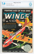 Golden Age (1938-1955):War, Wings Comics #32 (Fiction House, 1943) CBCS FN/VF 7.0 Off-white towhite pages....