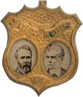Political:Ferrotypes / Photo Badges (pre-1896), Hayes & Wheeler: Rare Ferro Jugate in Brass Shell Frame....