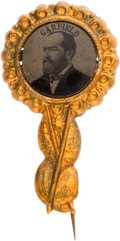 Political:Ferrotypes / Photo Badges (pre-1896), James A. Garfield: Very Choice 1880 Campaign Ferro in Fancy BrassShell Frame....