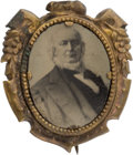 Political:Ferrotypes / Photo Badges (pre-1896), Horace Greeley: Impressive Large 1872 Ferrotype Campaign Badge....