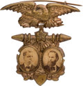 Political:Ferrotypes / Photo Badges (pre-1896), Hancock & English: Rare 1880 Jugate Badge....