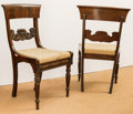 Furniture , A Pair of American Neoclassical Carved Mahogany Side Chairs, probably New York, early 19th century. 34 h x 19 w x 15 d inche... (Total: 2 Items)