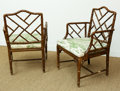 Furniture , Four Regency-Style Carved Wood Bamboo-Form Chairs with Neoclassical Tolle Upholstery, 20th century. 34 h x 22-1/2 w x 19-1/4... (Total: 4 Items)