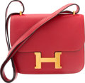 "Luxury Accessories:Bags, Hermes 18cm Rouge Vif Courchevel Leather Constance Bag with GoldHardware. Circa 1990's. Very Good Condition. 7""Width..."