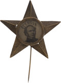 Political:Ferrotypes / Photo Badges (pre-1896), Horatio Seymour: A Great Ferrotype Pin in Star Shape....