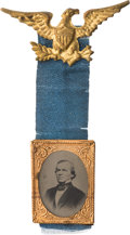 Political:Ferrotypes / Photo Badges (pre-1896), Andrew Johnson: A Rare Patriotic Ferrotype Badge....