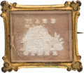 Political:Small Miscellaneous (pre-1896), William Henry Harrison: A Very Choice Log Cabin Sulphide Brooch with Salmon-colored Background....