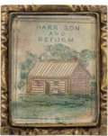 Political:Small Miscellaneous (pre-1896), William Henry Harrison: A Superb Hand-colored Log Cabin Campaign Brooch....
