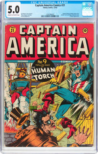 Captain America Comics #21 (Timely, 1942) CGC VG/FN 5.0 Cream to off-white pages