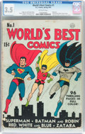 Golden Age (1938-1955):Superhero, World's Best Comics #1 (DC, 1941) CGC VG- 3.5 Off-white pages....
