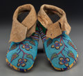 American Indian Art, A Pair of Plateau Beaded Hide Moccasins. c. 1890... (Total: 2Items)