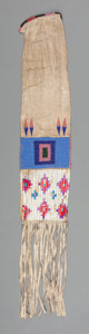 American Indian Art:Beadwork and Quillwork, A Plains Beaded Hide Tobacco Bag. c.1900...