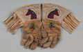 American Indian Art:Beadwork and Quillwork, A Pair of Plateau Child's Pictorial Beaded Hide Gauntlets...(Total: 2 Items)