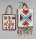 American Indian Art:Beadwork and Quillwork, Two Plateau Beaded Hide Flat Bags... (Total: 2 )